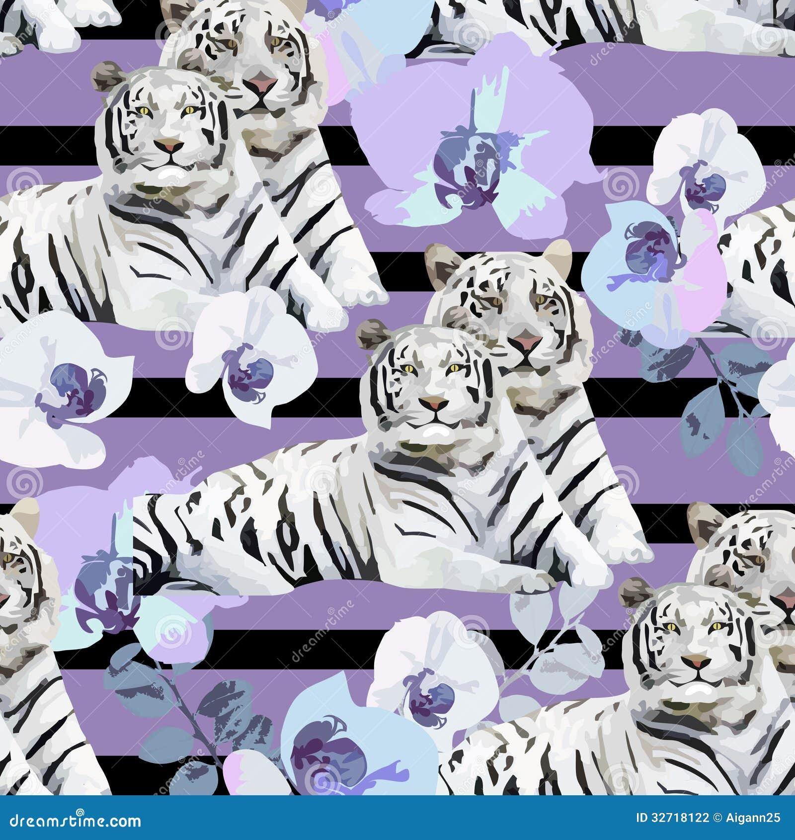 Une paire de tigres et de fleurs blancs