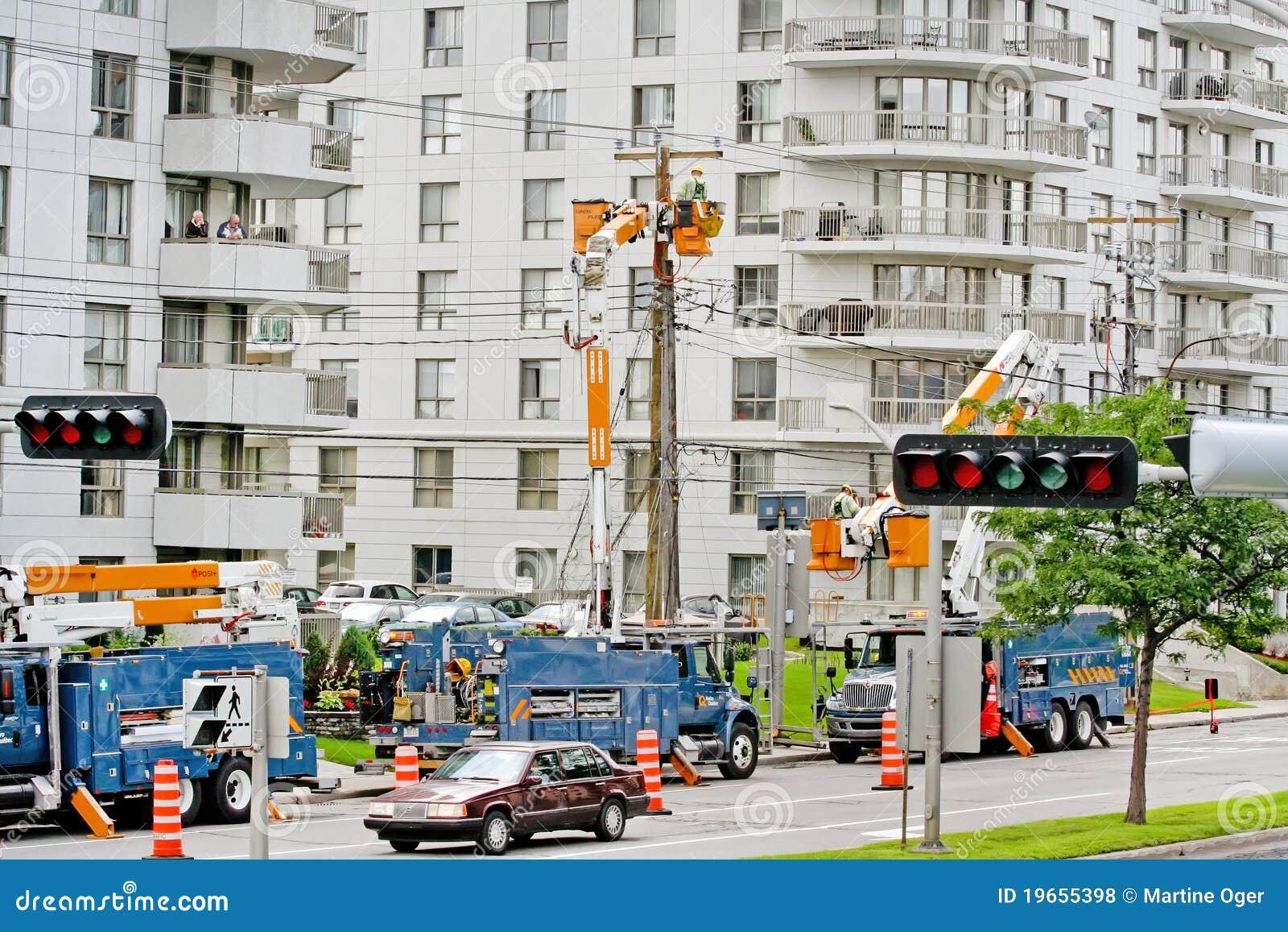 Une panne de l électricité en ville.