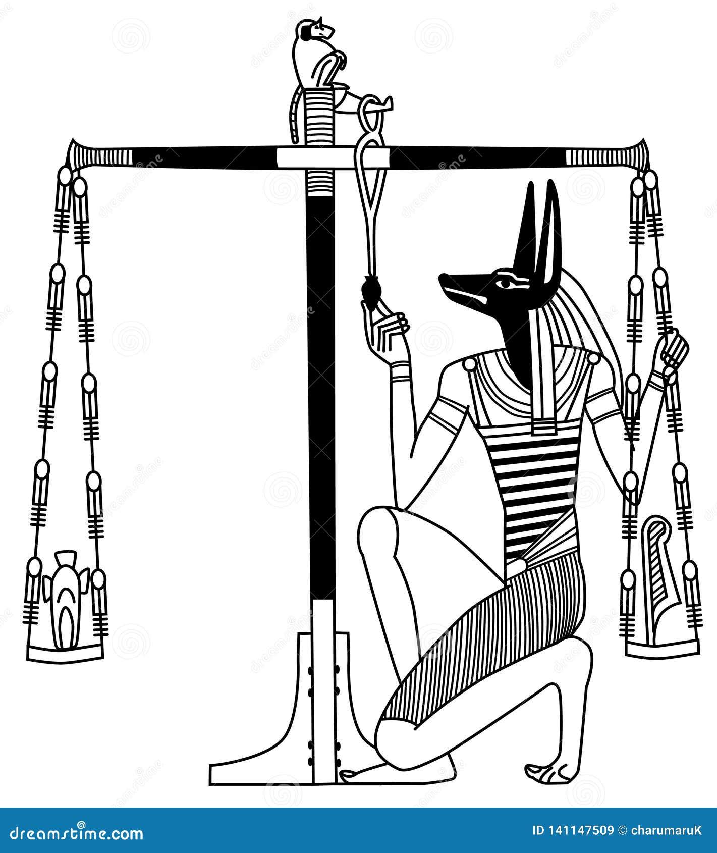 Une peinture murale égyptienne antique, le jugement d Anubis
