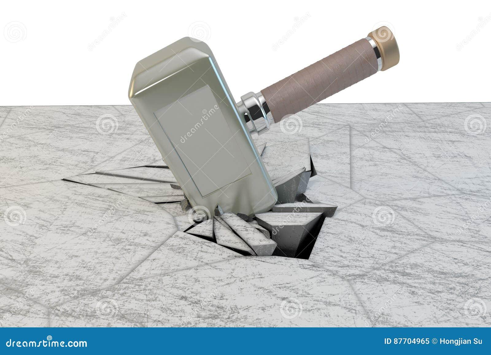 Une pierre de coup de marteau