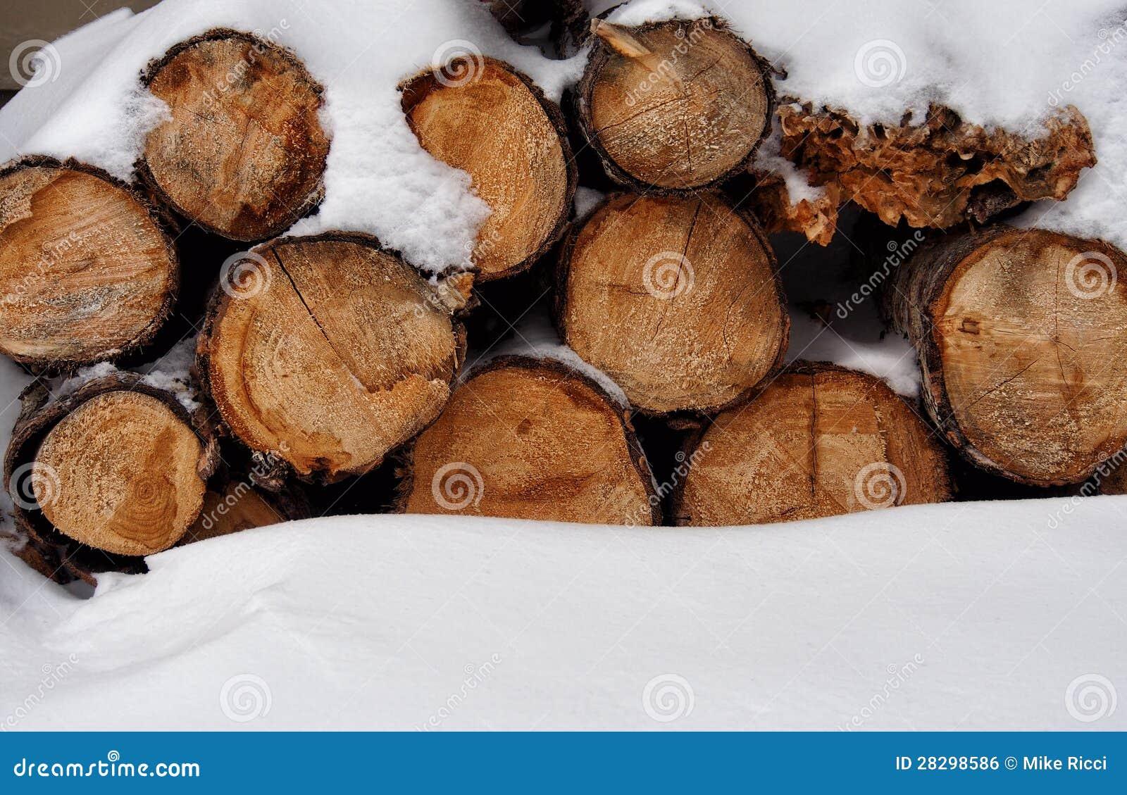 Une pile de bois dans la neige