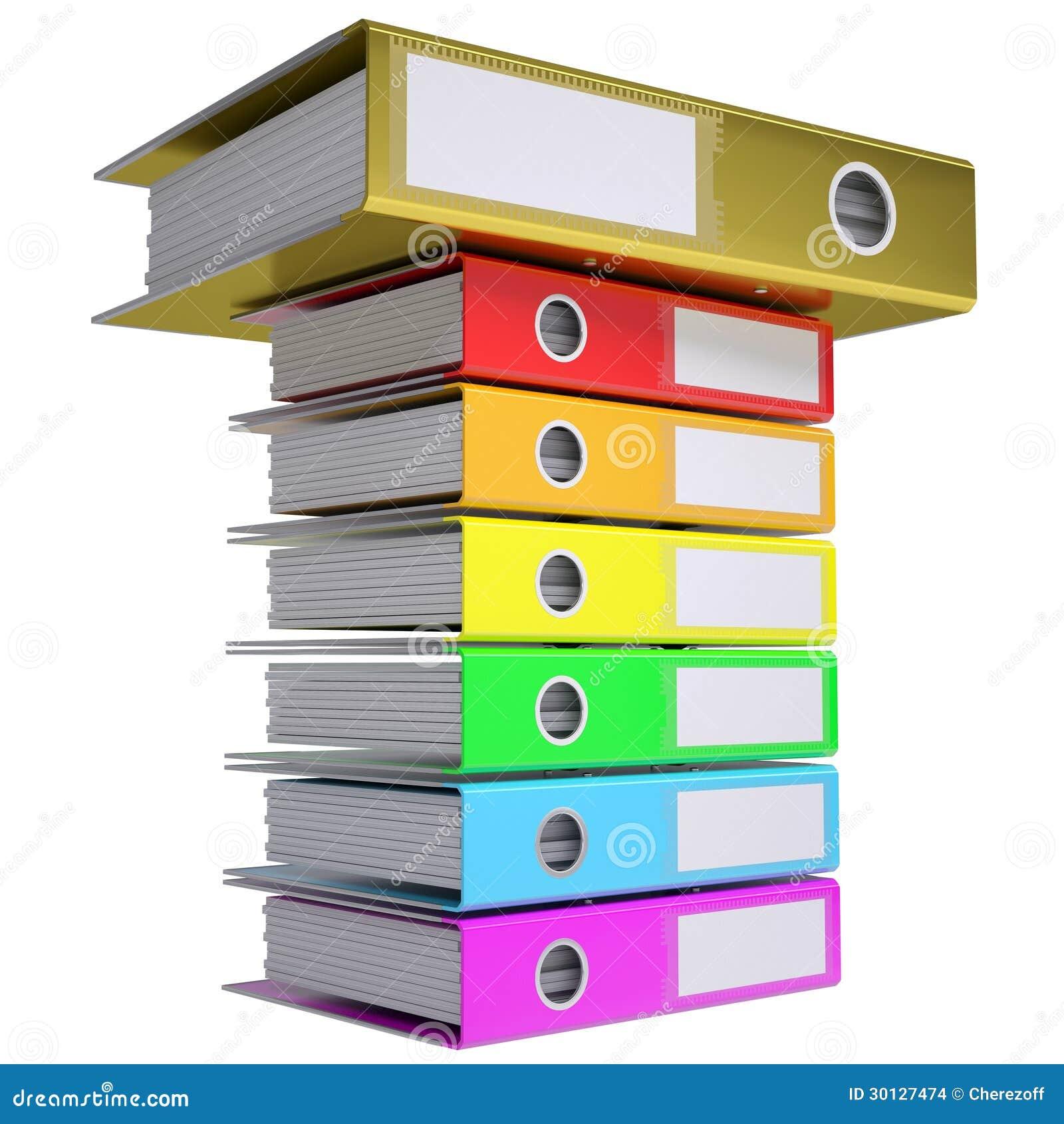une pile de dossiers de bureau dossier d 39 or sur le dessus illustration stock image 30127474. Black Bedroom Furniture Sets. Home Design Ideas