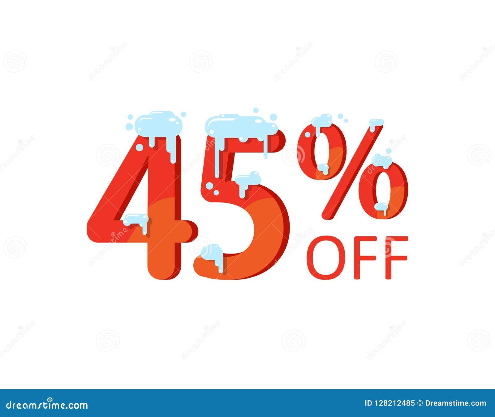 Une remise de quarante-cinq pour cent Hiver, vente de Noël, nombres dans la neige