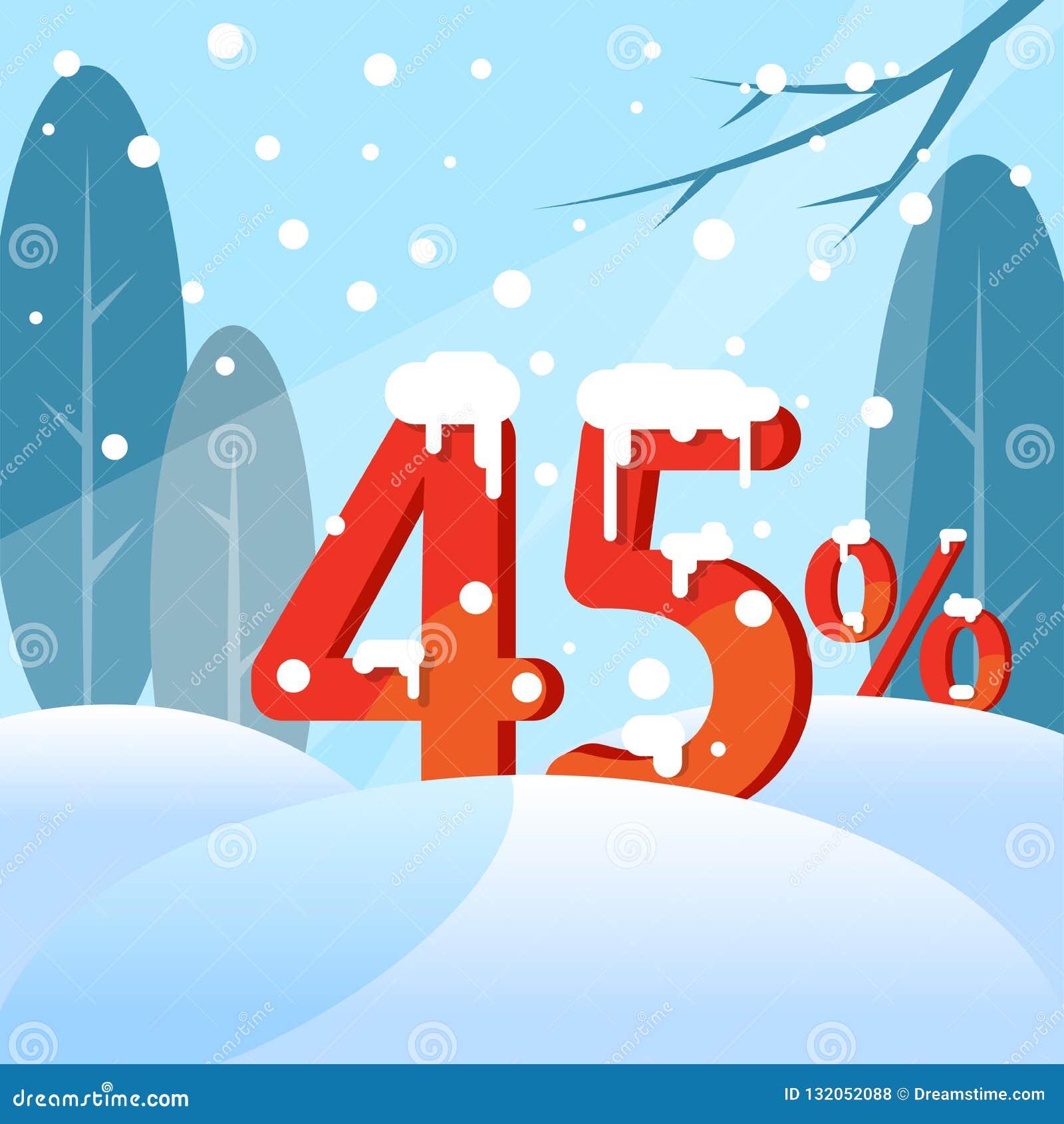Une remise quarante-cinq pour cent Figures dans la neige