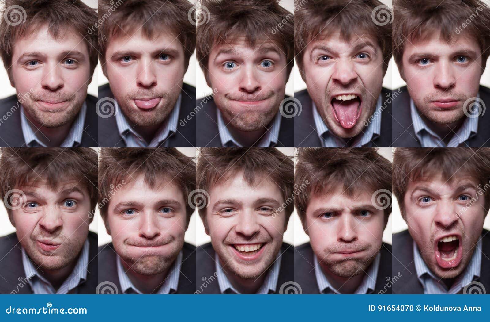 Une série de portraits émotifs de jeune homme hirsute