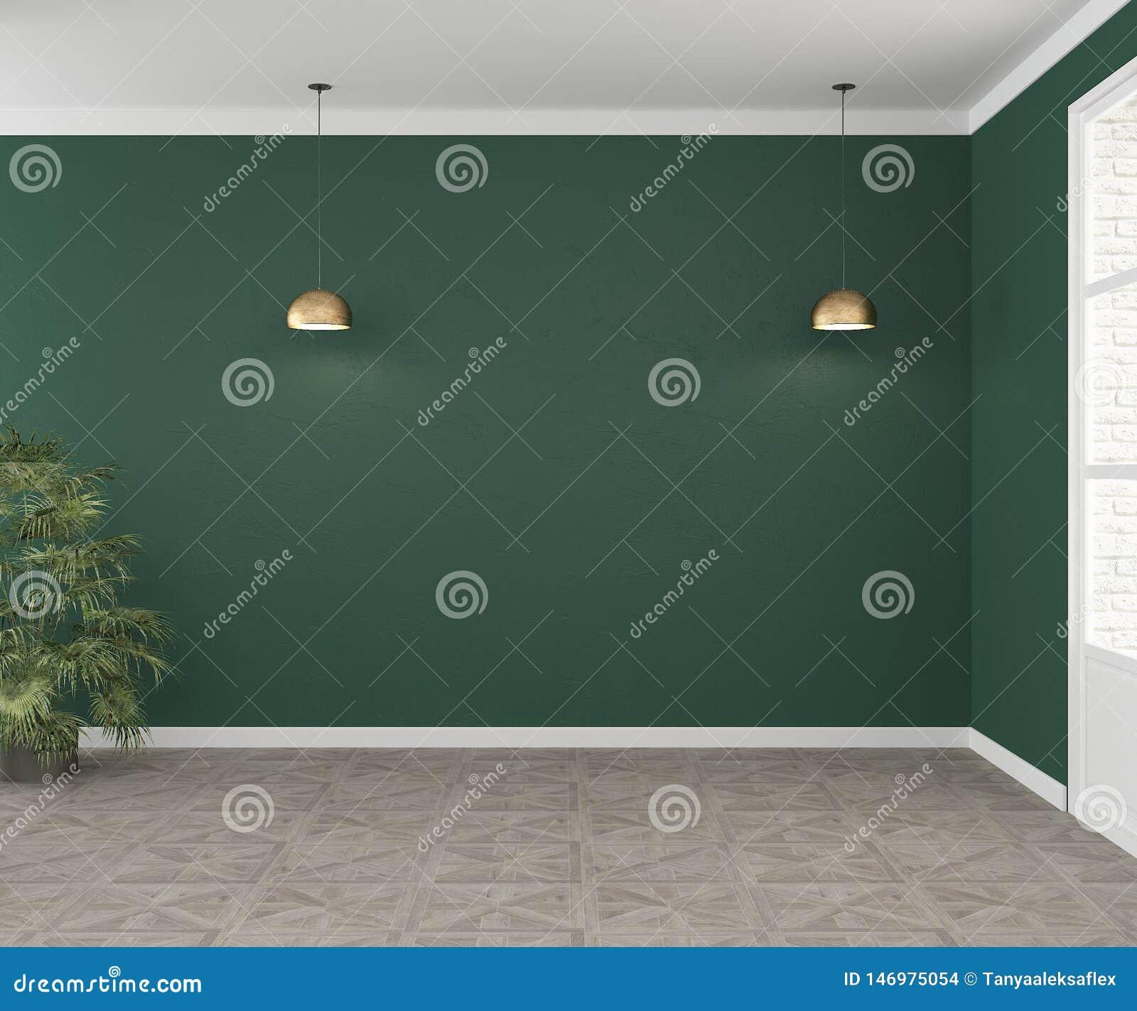 Une salle vide avec les murs verts et deux lampes Intérieur pour le mockap pour le sofa Vue directement rendu 3d
