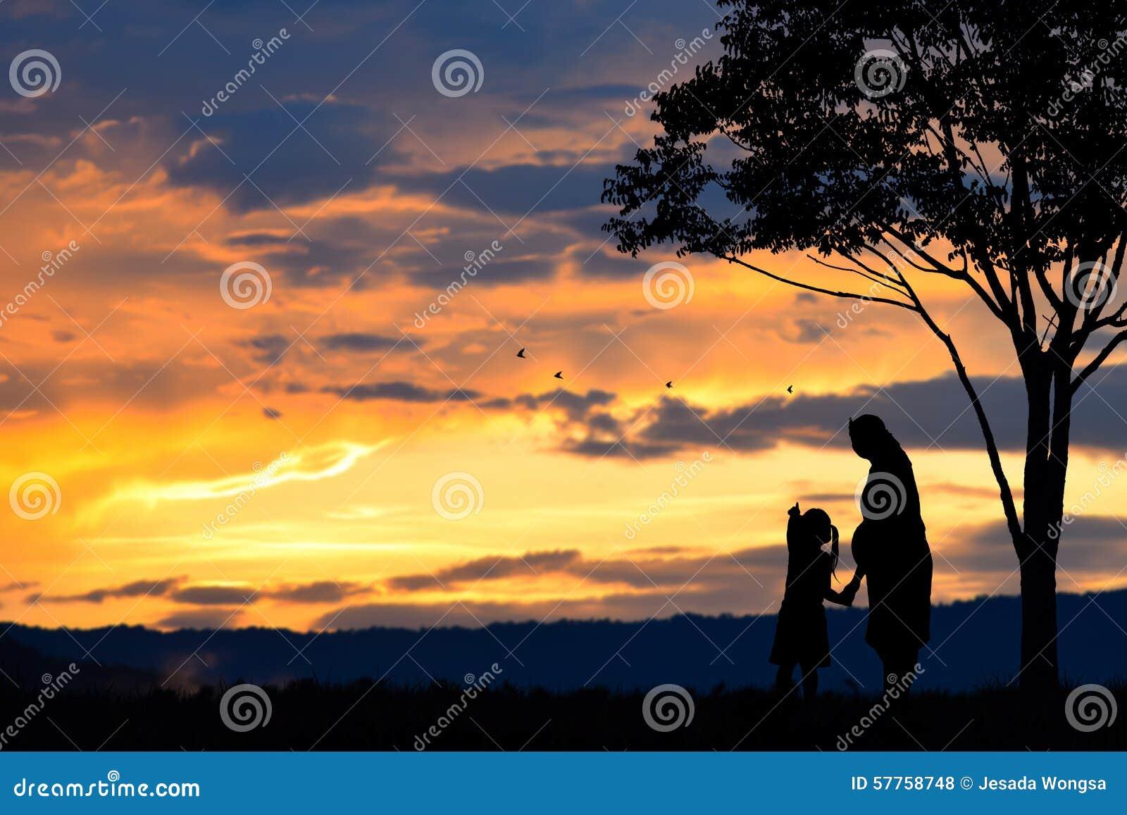 Une Silhouette D Une Famille D Une Mère D Une Fille Et D