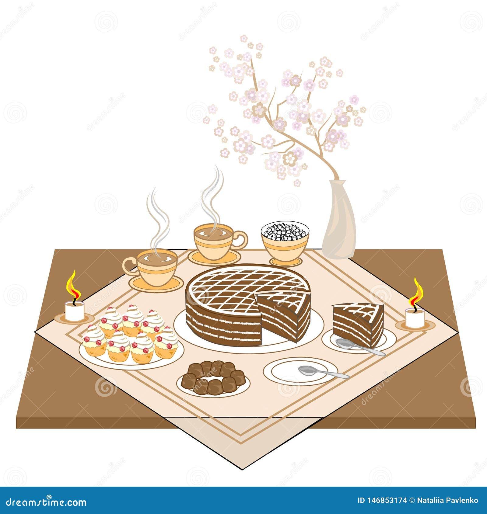 Une table de fête avec des bougies et un gâteau de chocolat Thé ou café chaud, bonbons, petits pains - un festin exquis pour chaq