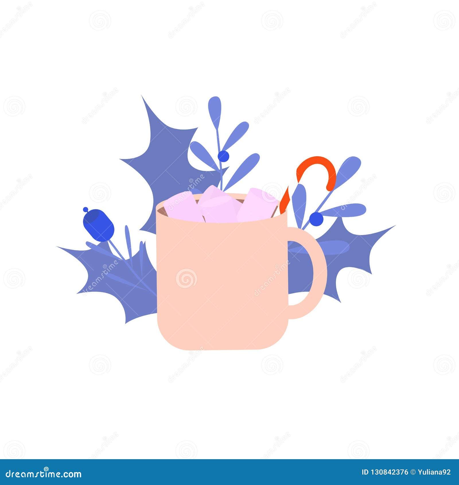 Une tasse de boisson de Noël, cacao, chocolat avec la guimauve sur le fond blanc avec la décoration de Noël L hiver détendent le