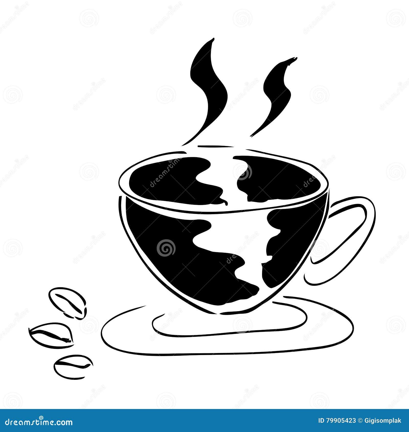Une tasse de café et de grain de café trois