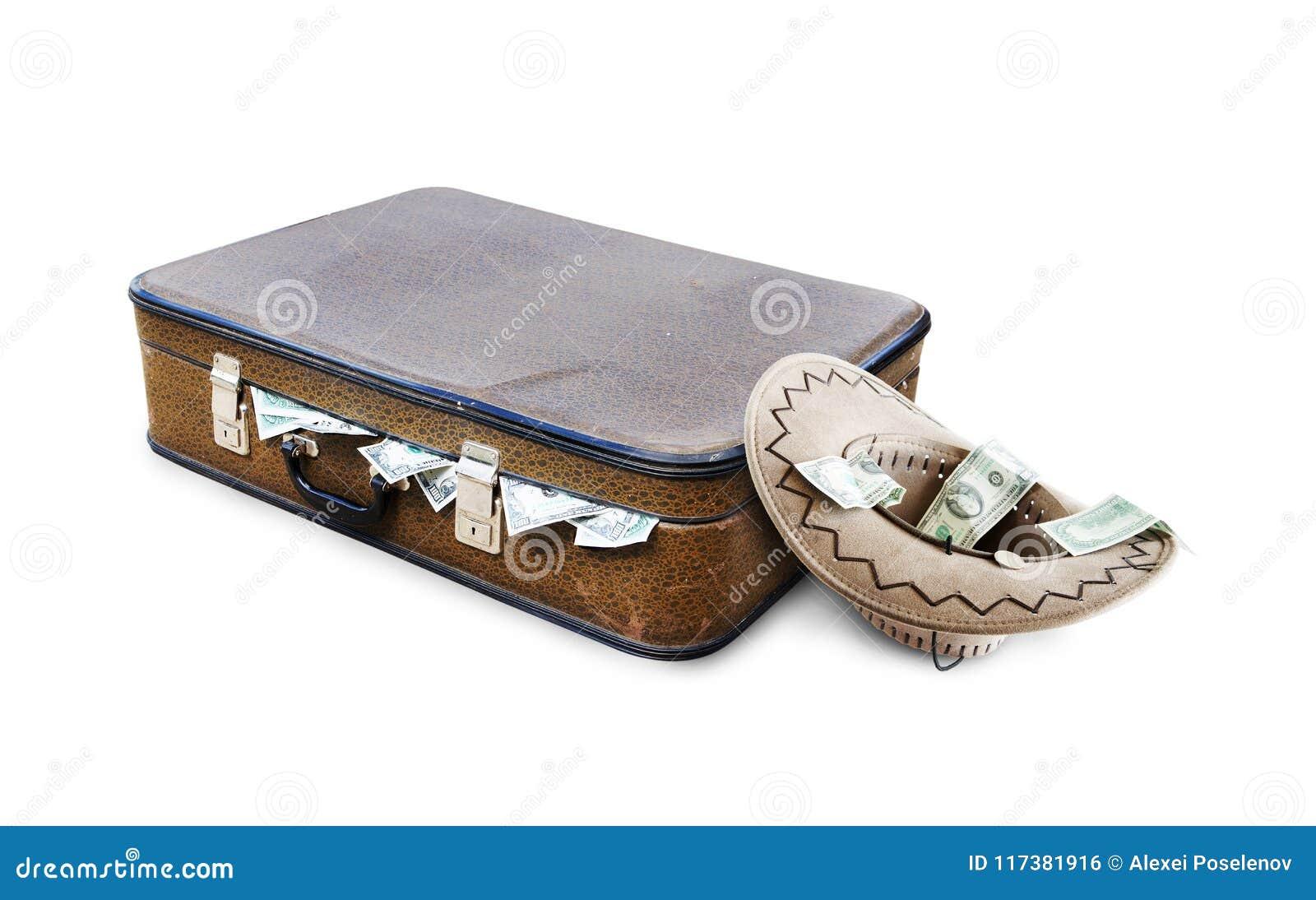 Une valise complètement d argent et d un chapeau avec l aumône