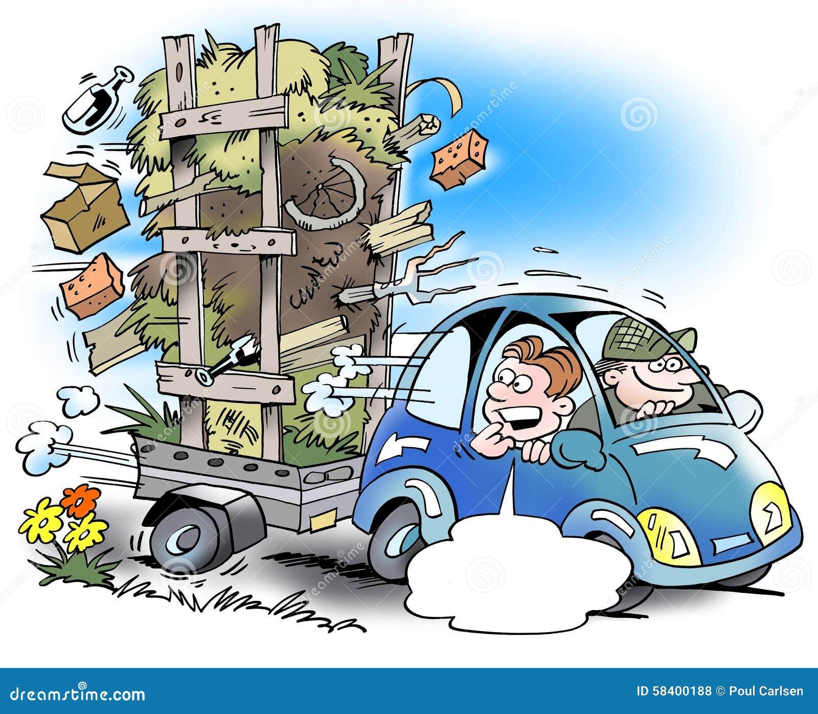 une voiture avec une petite remorque qui est surcharg e trop illustration stock image 58400188. Black Bedroom Furniture Sets. Home Design Ideas
