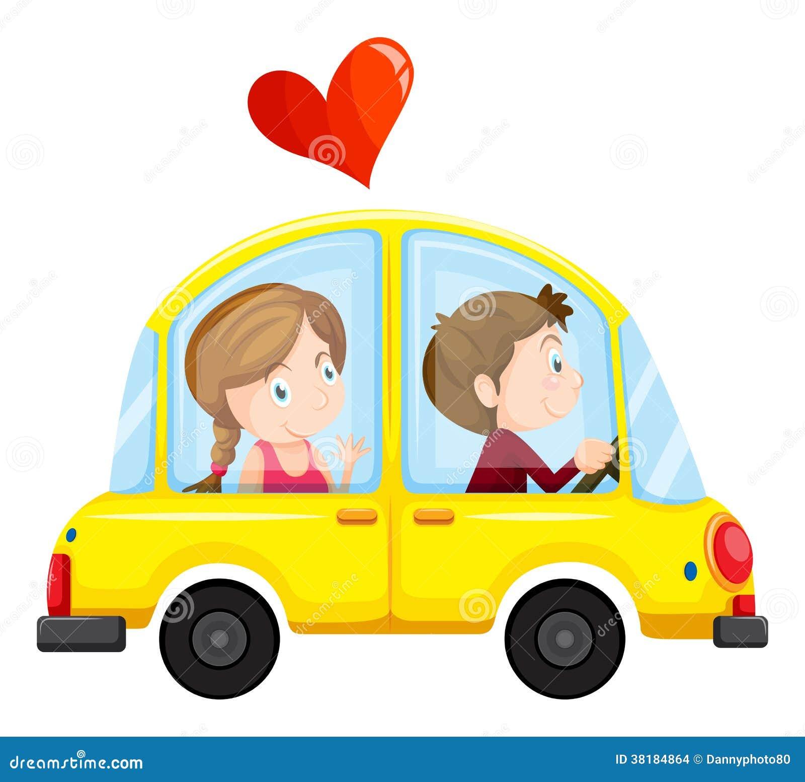 une voiture jaune avec un couple affectueux illustration de vecteur illustration du mobile. Black Bedroom Furniture Sets. Home Design Ideas
