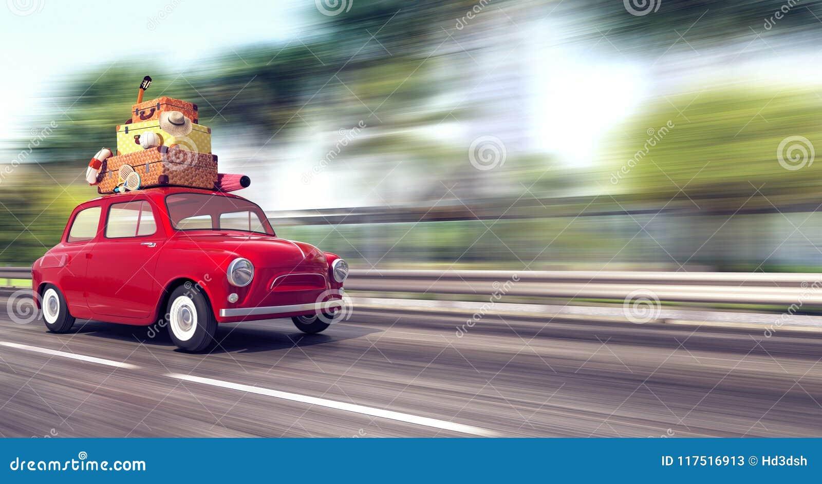 Une voiture rouge avec le bagage sur le toit va rapidement des vacances
