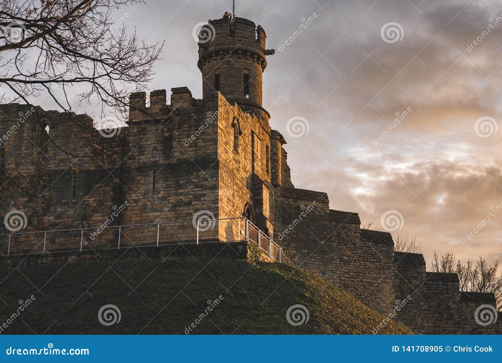 Une vue de certains des remparts de Lincoln Castle