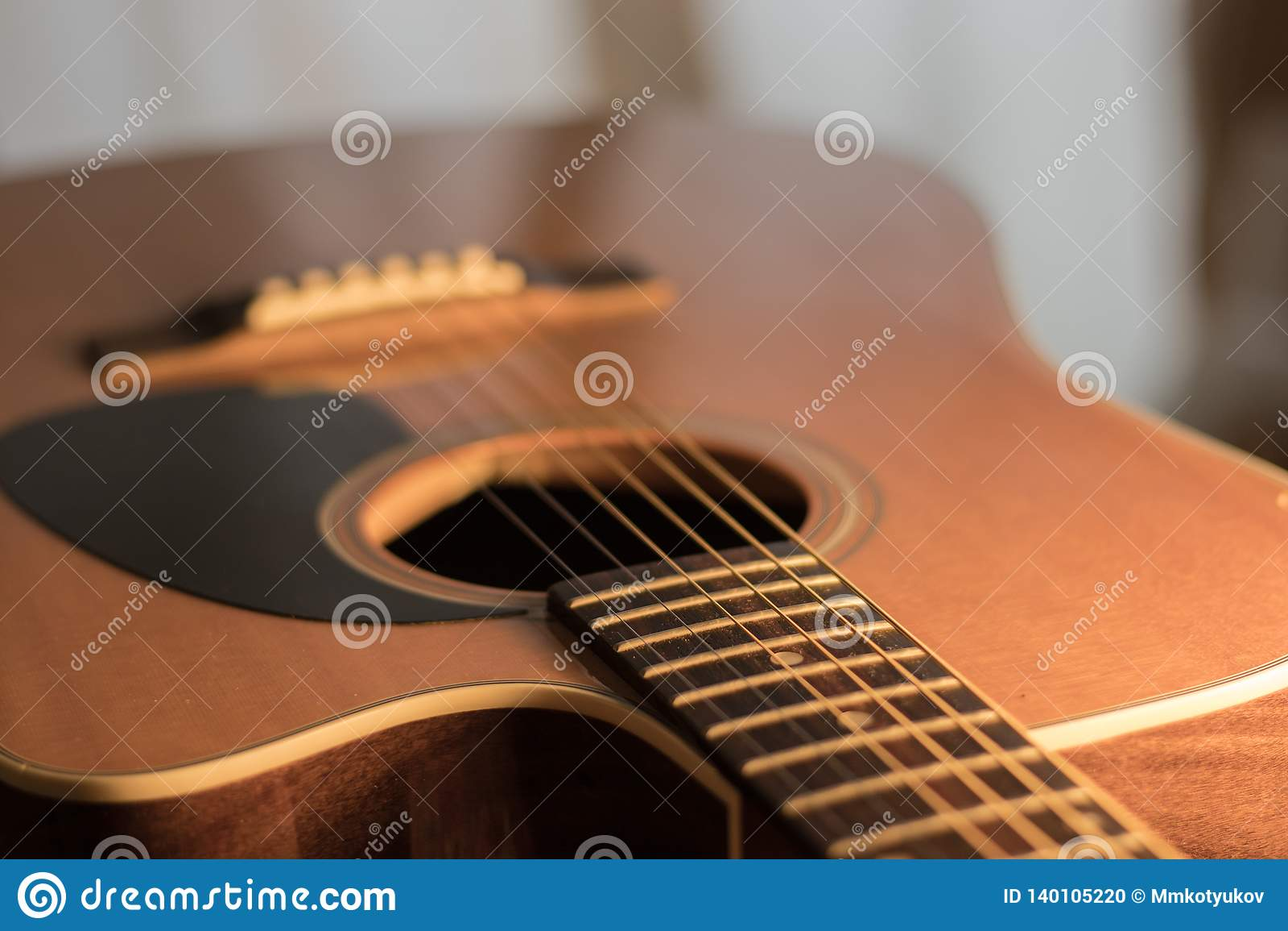 Une vue de corps de guitare acoustique