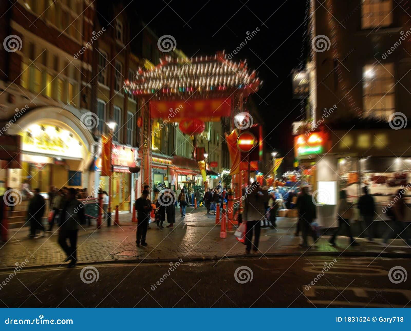 Une vue de nuit du Chinatown à Londres
