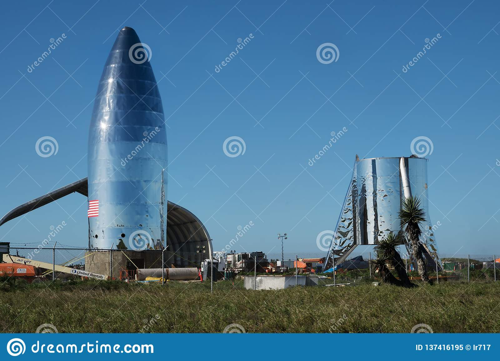 Une vue de prototype Starship de SpaceX Boca Chica Village, Cameron County, le Texas, Etats-Unis