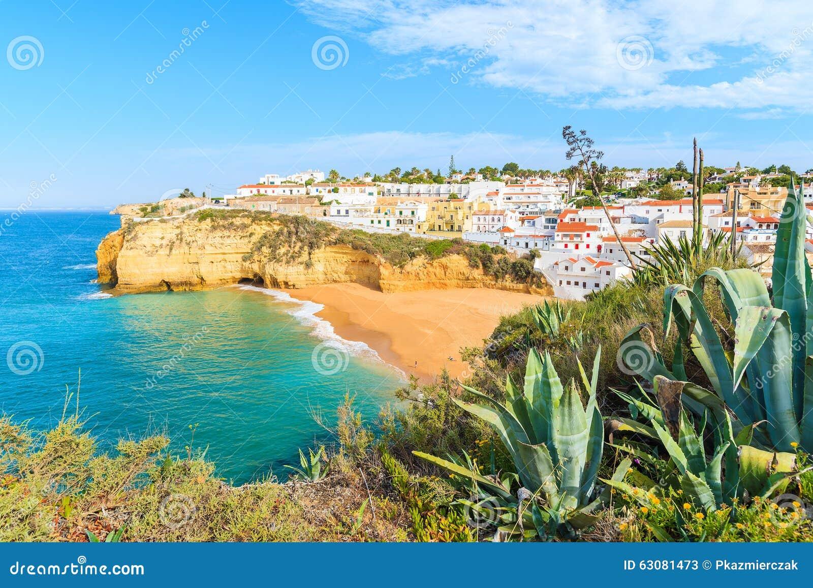 Download Une Vue De Village De Pêche De Carvoeiro Image stock - Image du roche, construction: 63081473