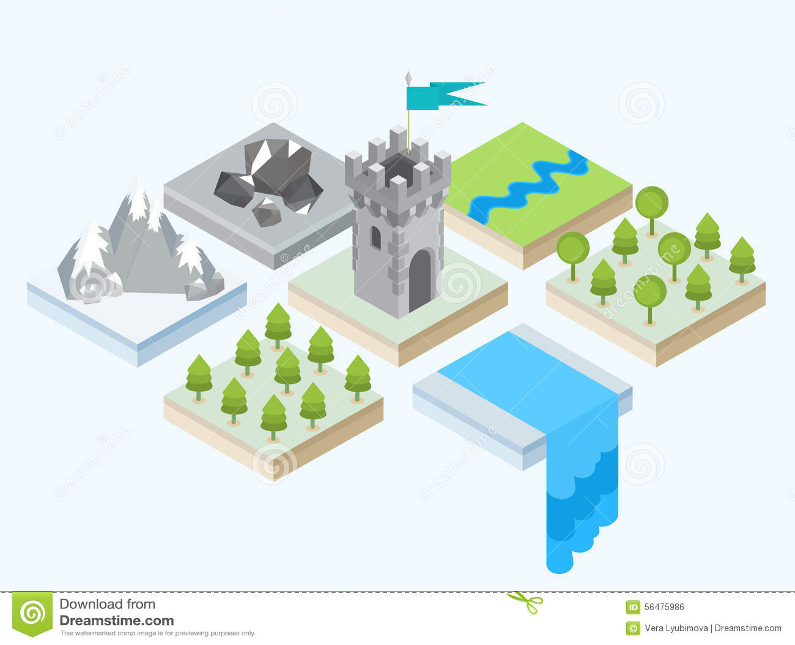 Une vue isométrique d une tour et des environs