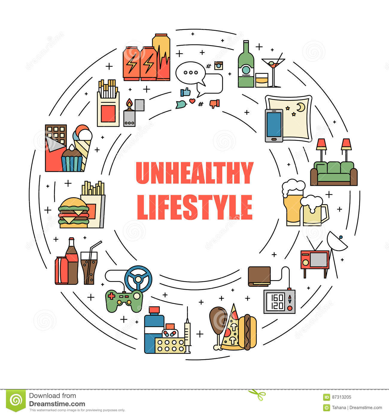 Fat Man Unhealthy Lifestyle Vector Infographic: Diet ... |Unhealthy Lifestyle Icon