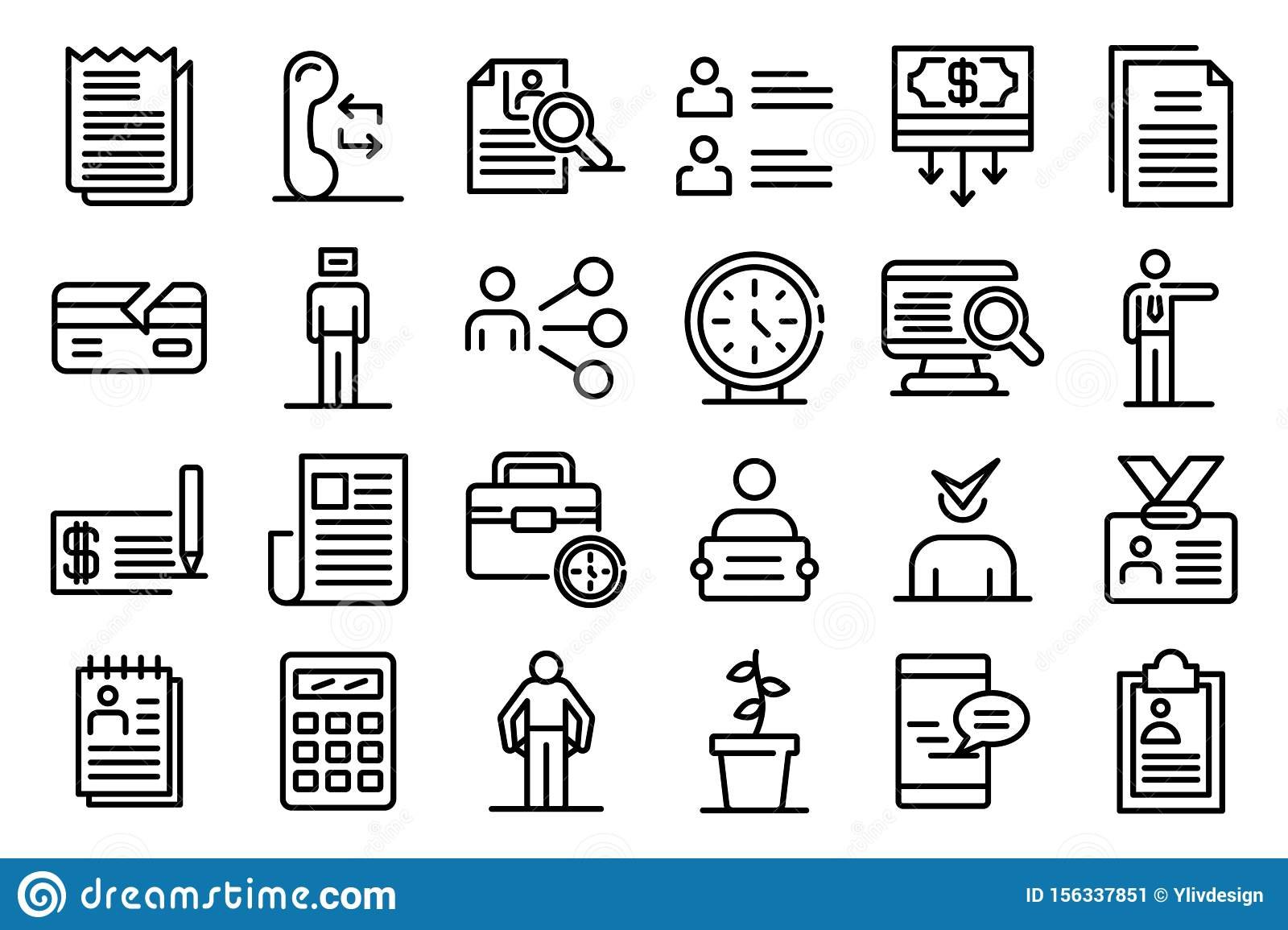 Unemployed icons set, outline style