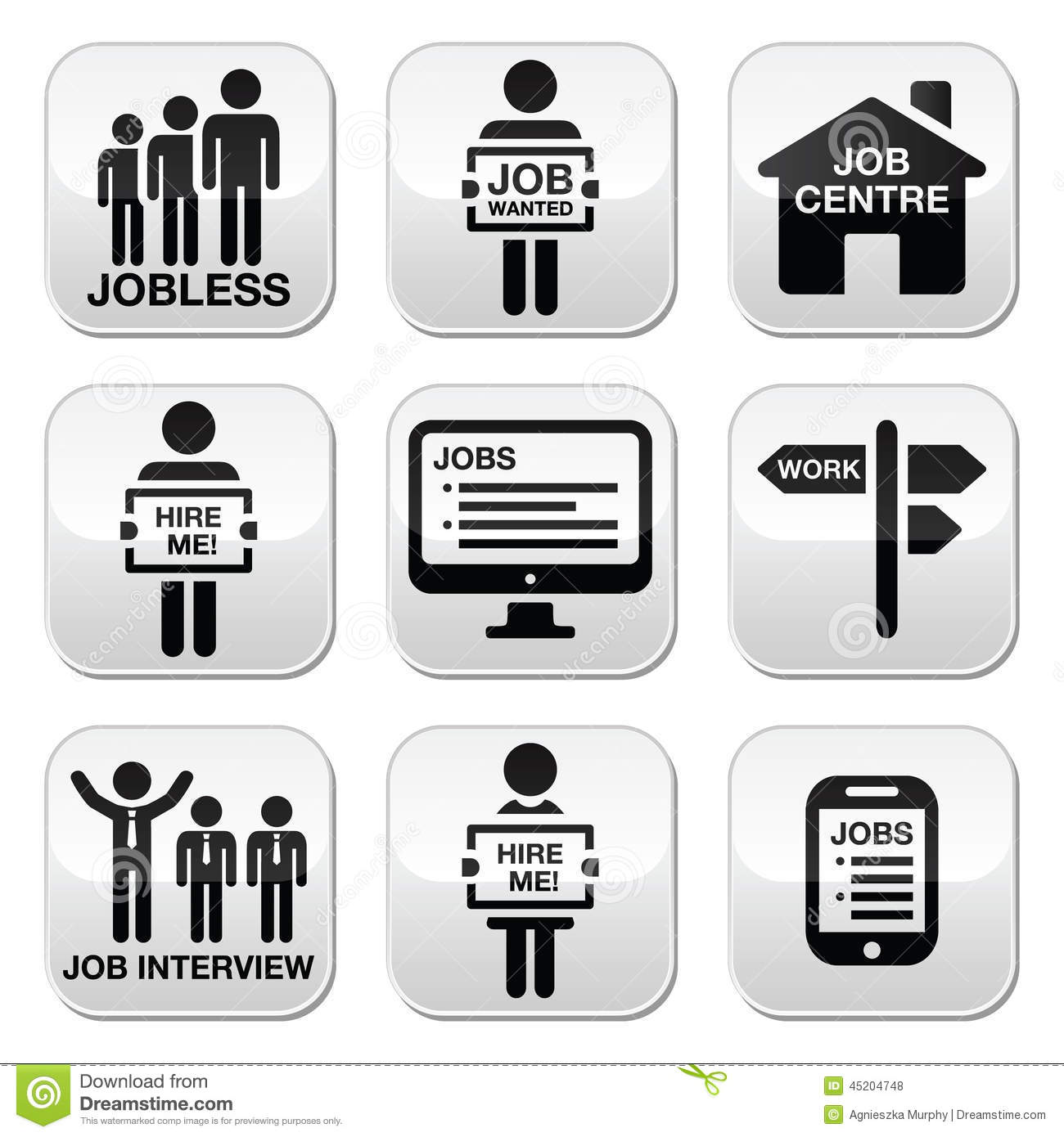 unemployment job searches icons set stock illustration image unemployment job searches vector buttons set royalty stock photos