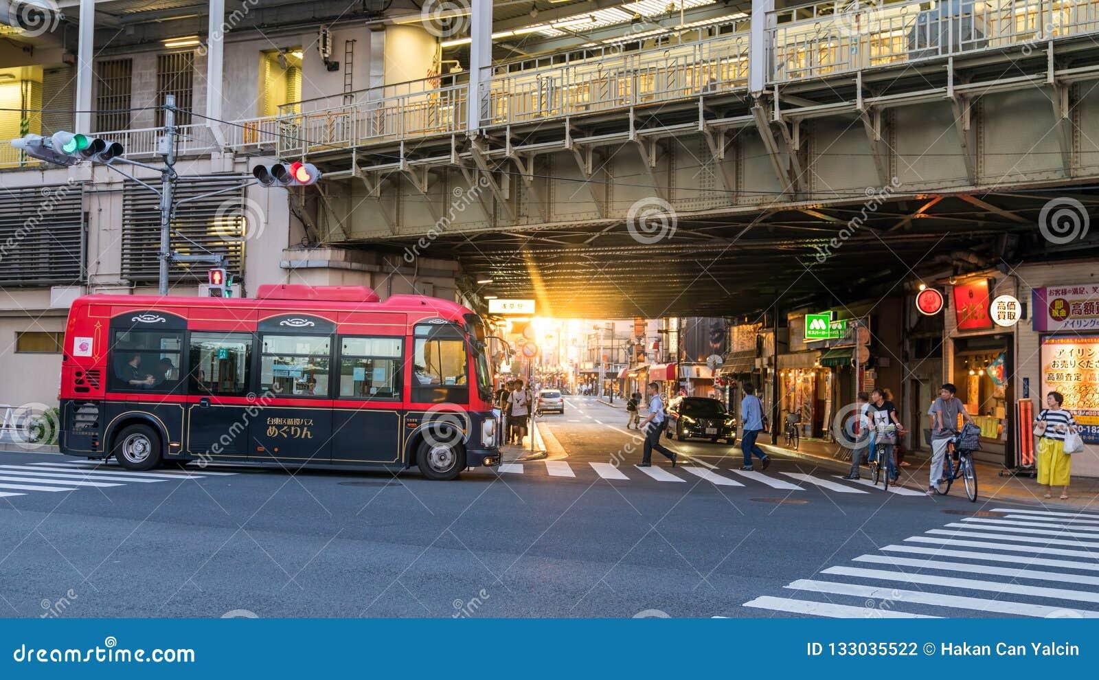 Unerkennbare Leute, die in die Stadt, eine Szene vom Tokyo-Stadtleben im Sonnenuntergang, Tokyo, Japan gehen