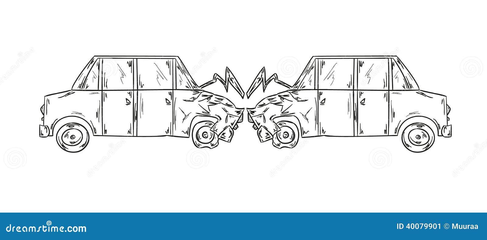 Unfall der skizze mit zwei autos vektor abbildung bild