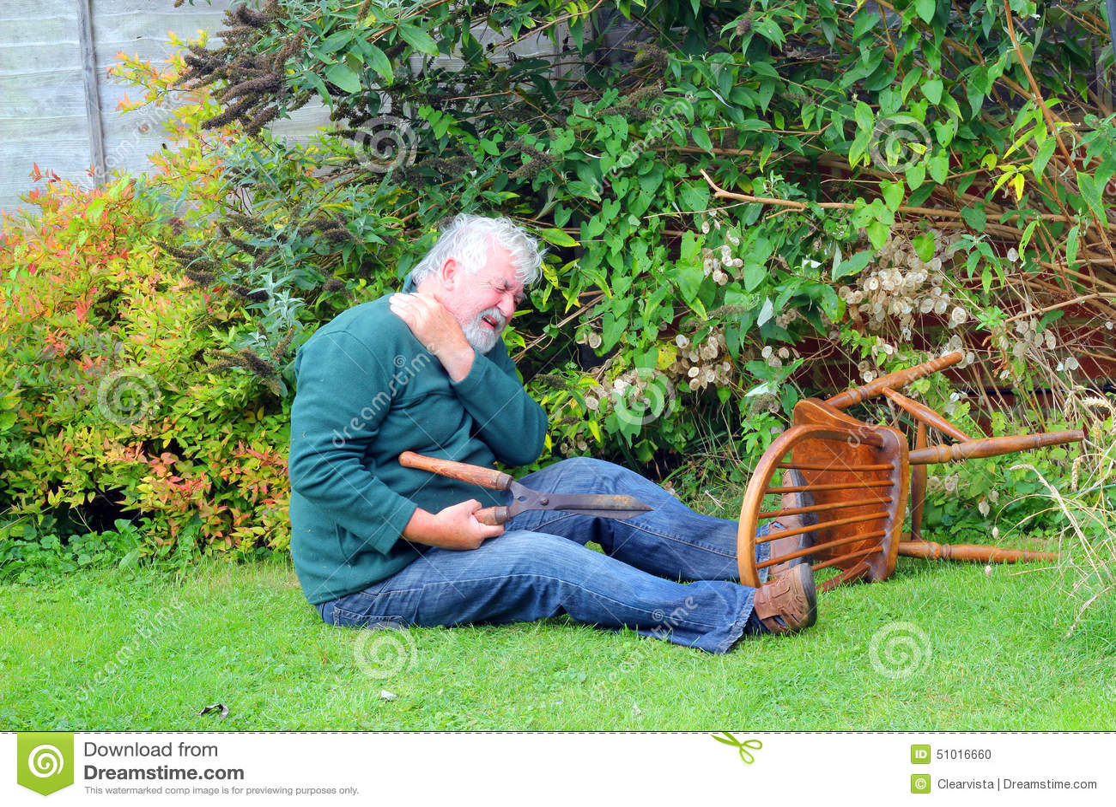 Unfall Garten Vorbei Gefallen Gefahr Stockfoto Bild