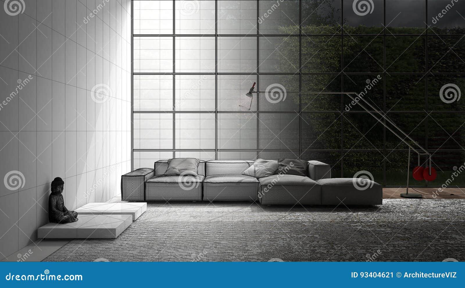 Unfertiges Projekt Des Modernen Lebens Mit Sofa Teppich Und Großen