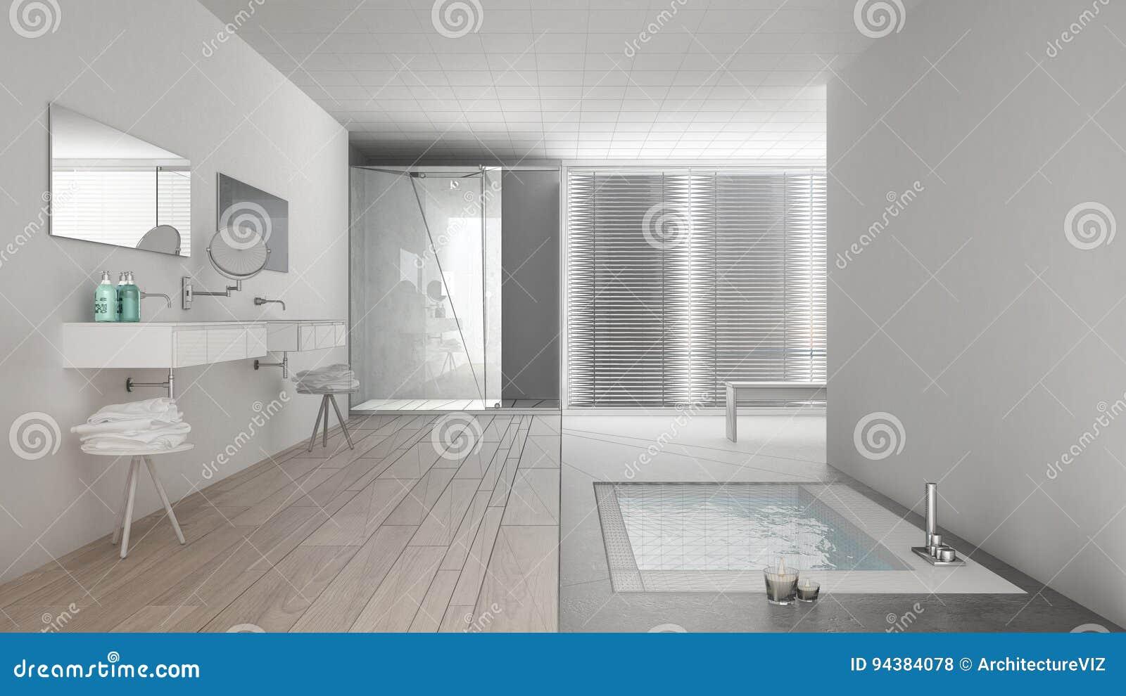 unfertiges projekt des unbedeutenden weißen und grauen badezimmers, Badezimmer ideen