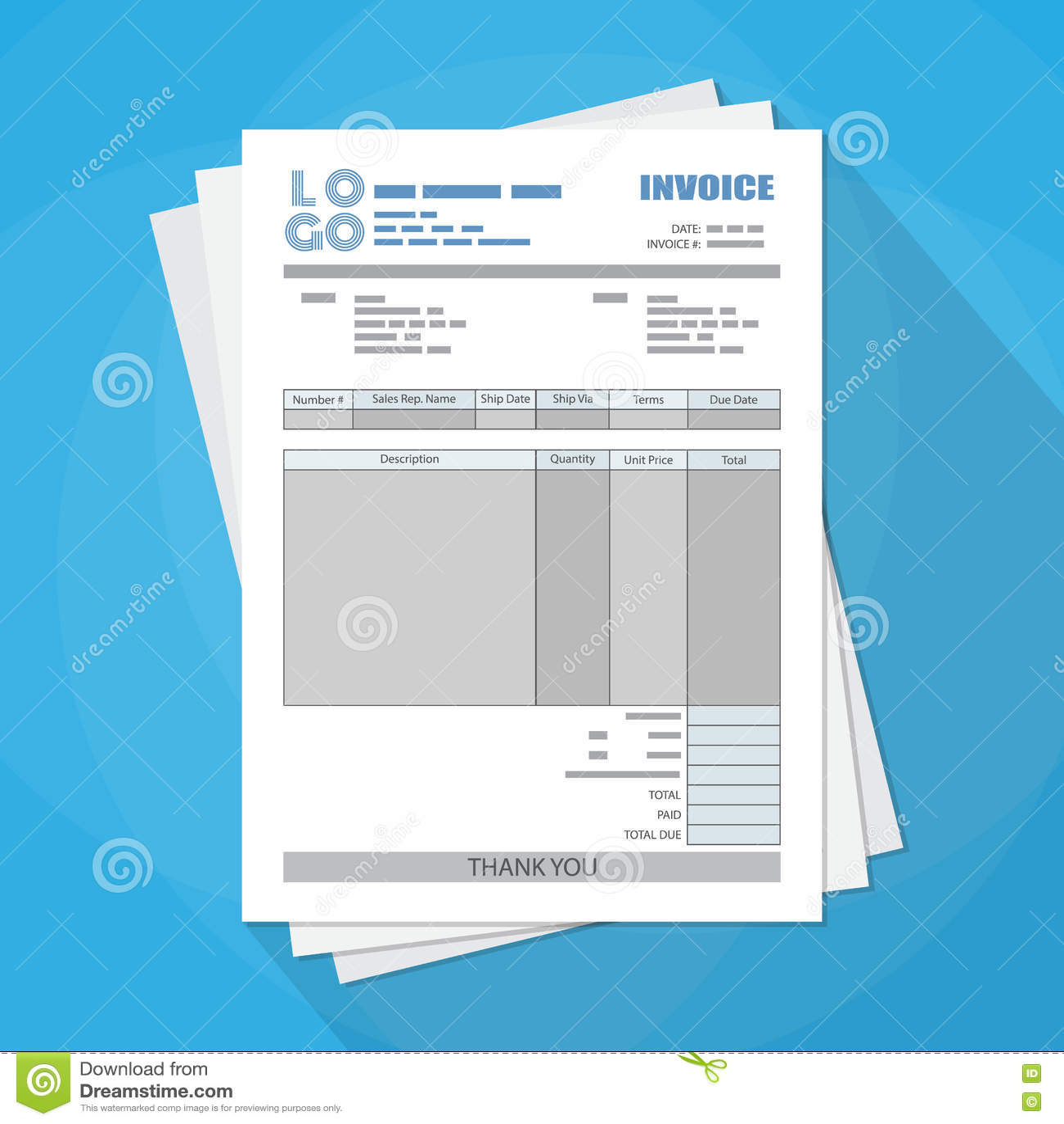 Unfill Papier Rechnungsform Vektor Abbildung Illustration Von