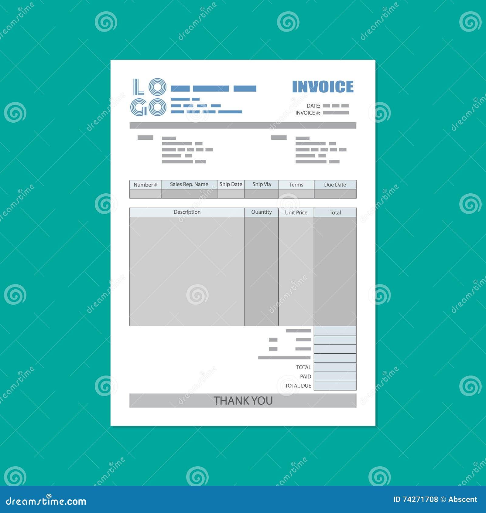 Unfill Papier Rechnungsform Steuer Empfang Rechnung Vektor Abbildung