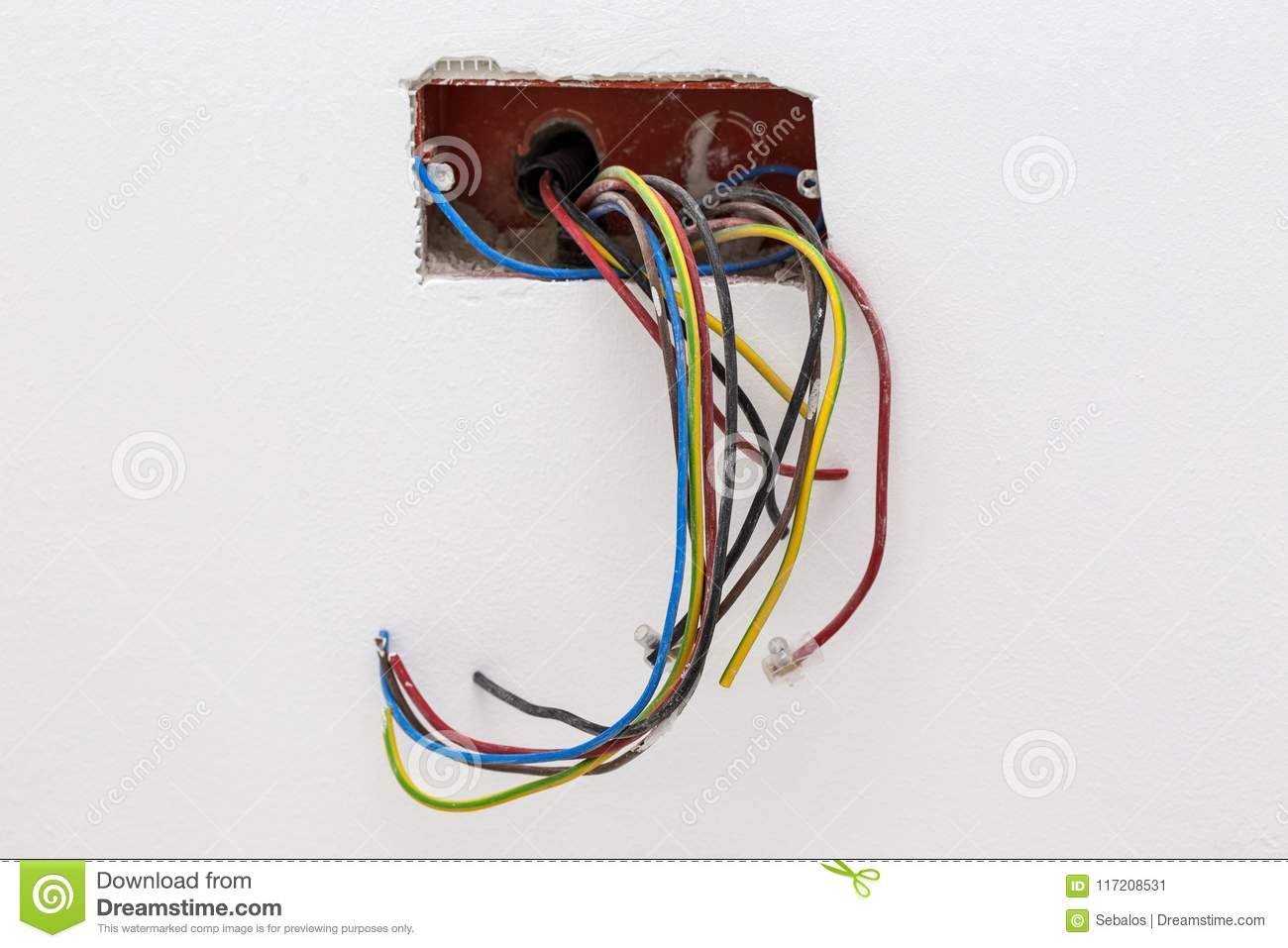 Unfinished Electrical Mains Outlet Socket With Wires Wiring Download Stock Image Of Dangerous