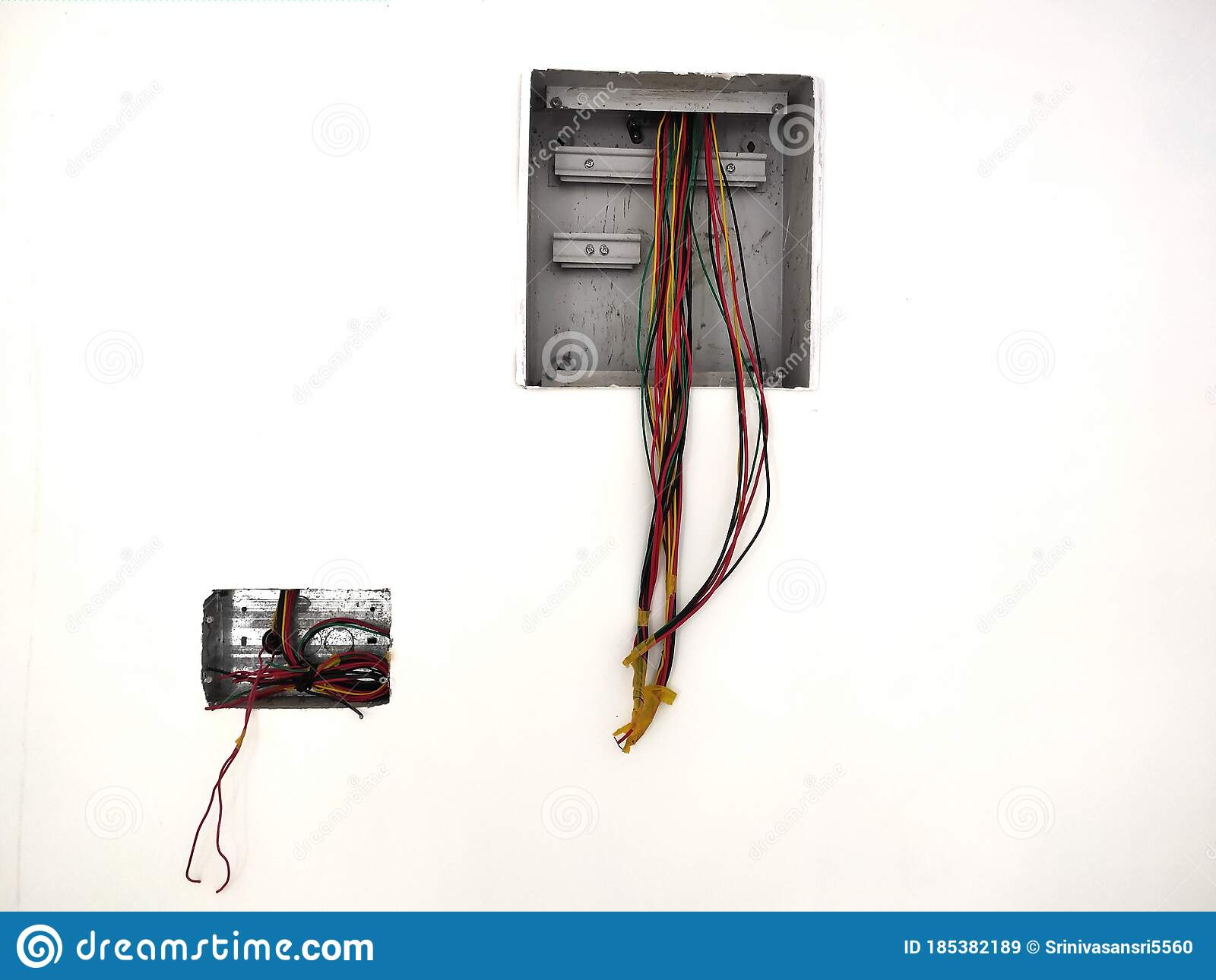 Unfinished Electrical Steel Junction Box On White Brick Wall Household Electric Installation Work Home Wiring Repair Upgrade Stock Image Image Of Mounting Cable 185382189