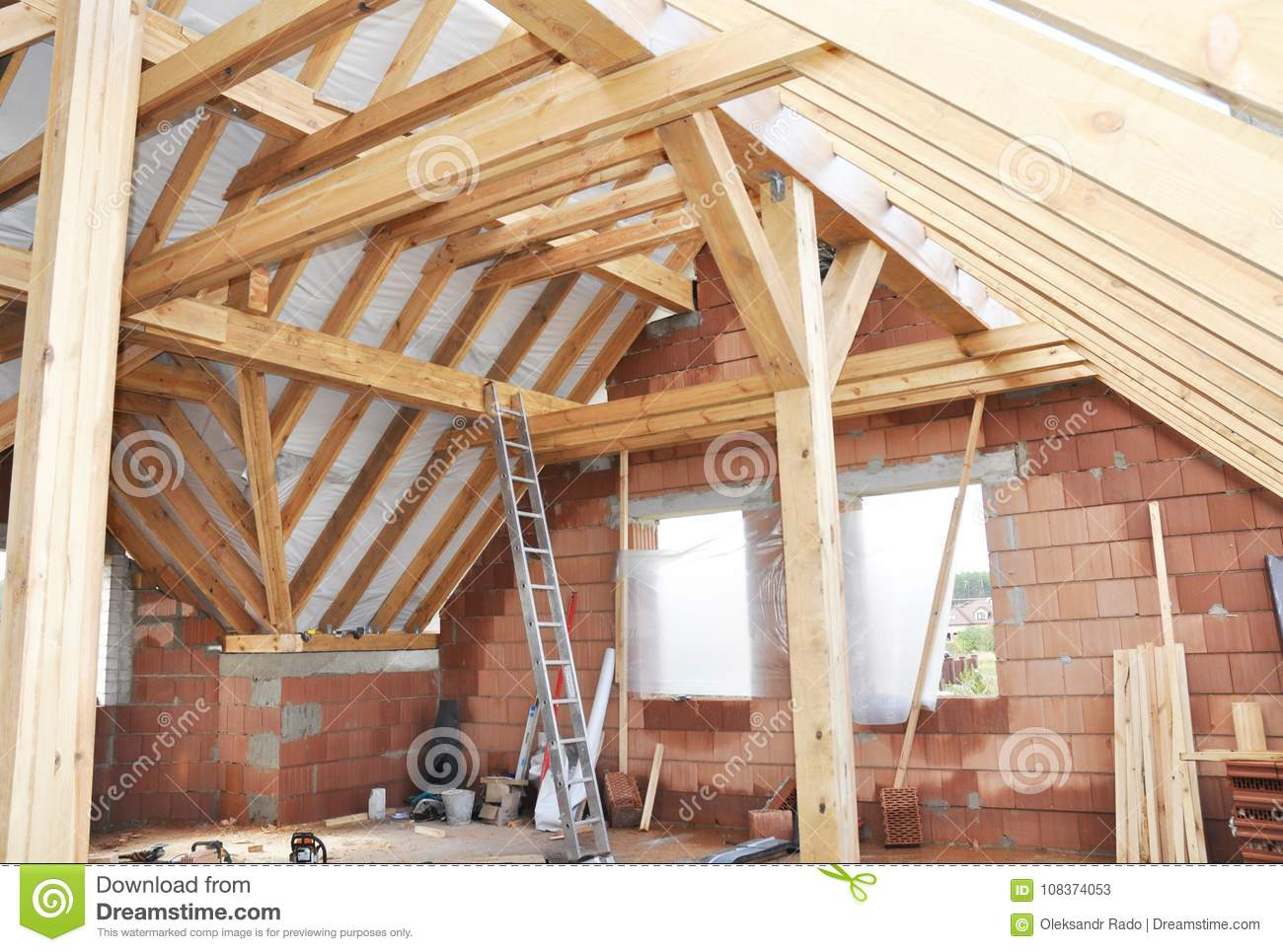 Unfinished House Attic Construction Interior Building House Attic