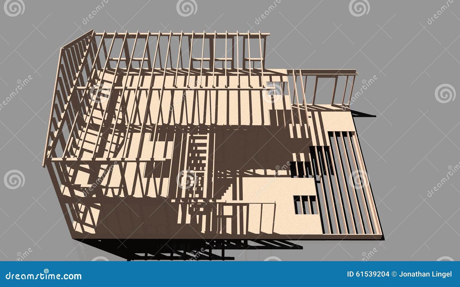 Unfinished House Frame Illustration 61539204 Megapixl. Unfinished House Frame. Wiring. House Frame Diagram Doors At Scoala.co