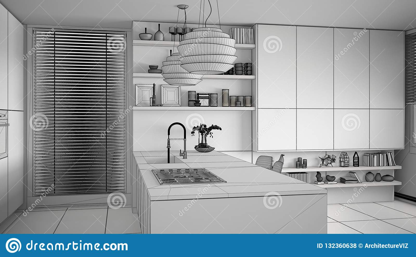 Unfinished Project Draft Of Modern Kitchen With Shelves And