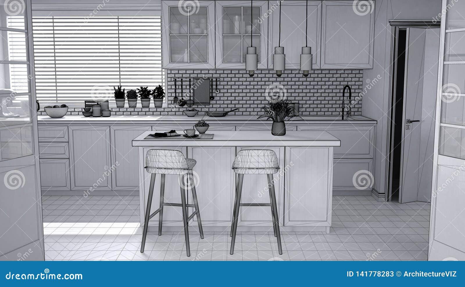 Unfinished Project Draft Of Modern Scandinavian Kitchen