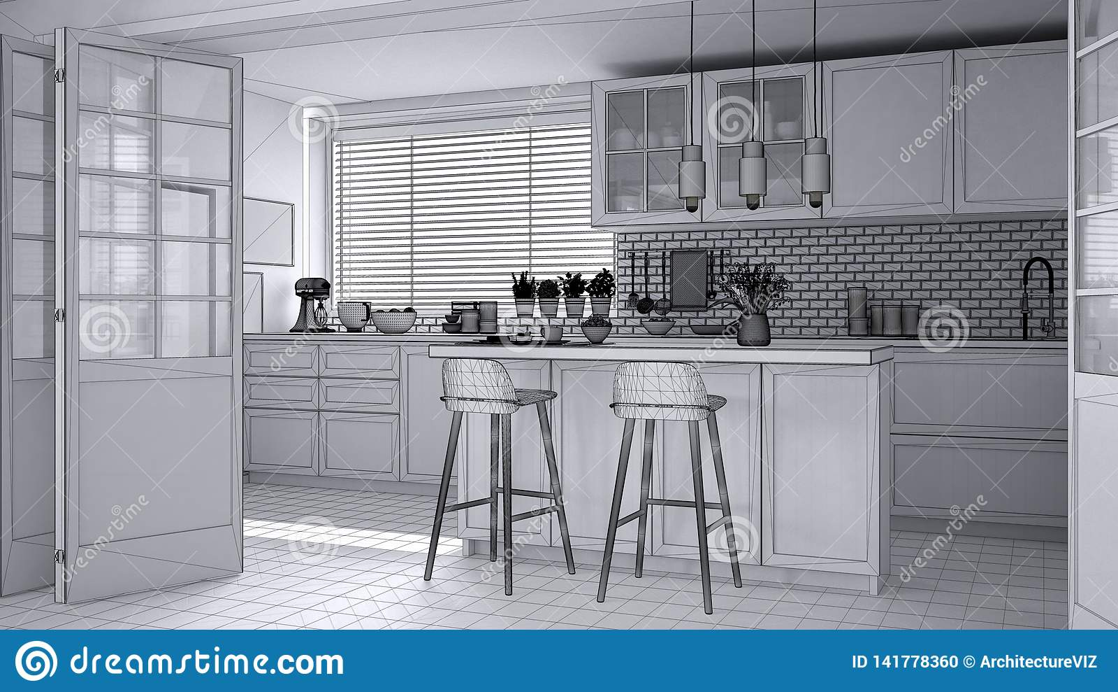 Pleasing Unfinished Project Draft Of Modern Scandinavian Kitchen Download Free Architecture Designs Jebrpmadebymaigaardcom
