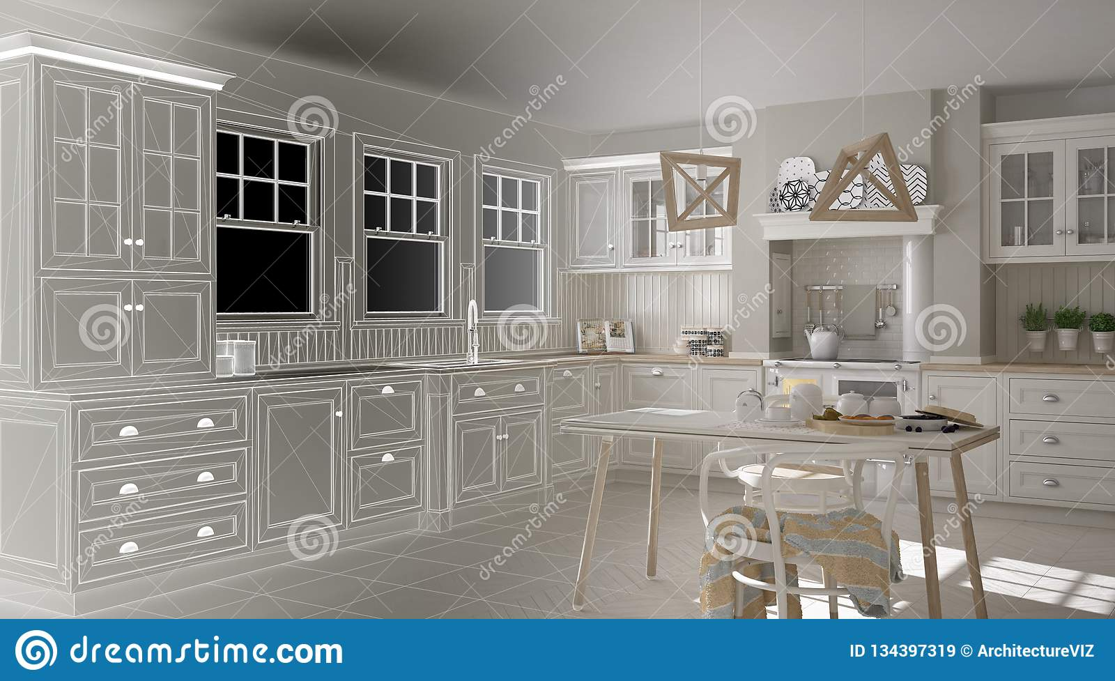 Unfinished Project Draft Of Scandinavian Classic Kitchen With ...