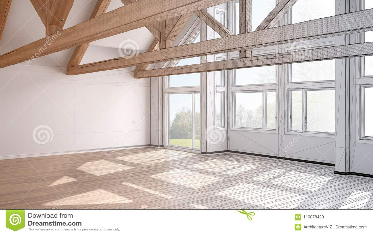 Unfinished project of empty room in luxury eco house, parquet fl