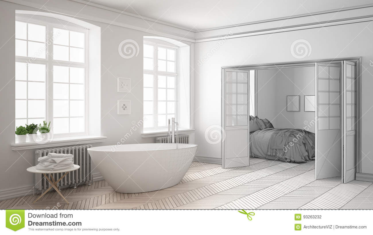 Unfinished Project Of Minimalist White Bathroom With Bedroom In ...