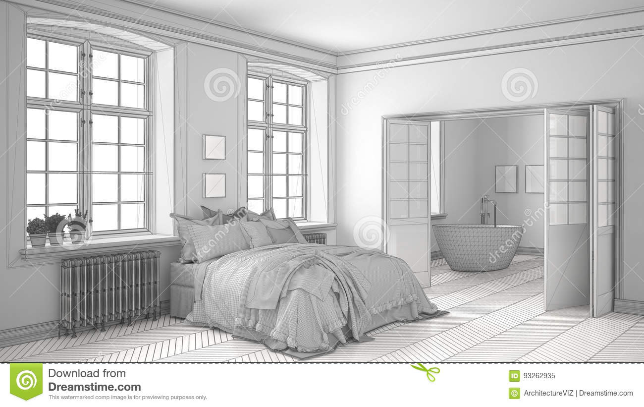 Unfinished Project Of Minimalist White Bedroom With Bathroom In ...