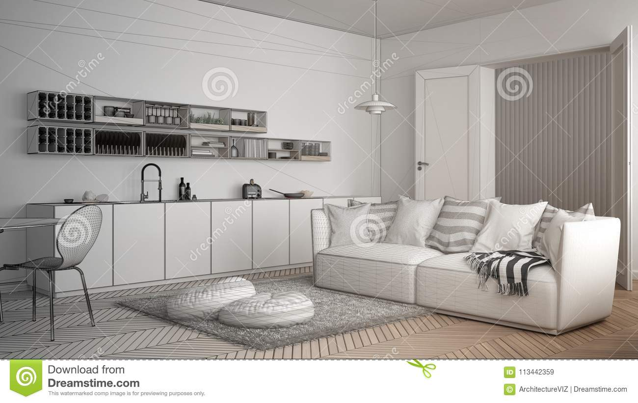 Unfinished Project Of Scandinavian Modern Living Room With Kitchen ...