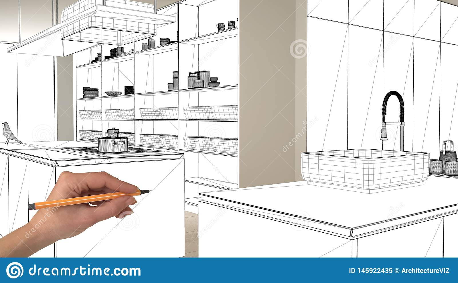 Unfinished Project Under Construction Draft Concept Interior Design Sketch Hand Drawing Blueprint Kitchen Sketch In Real Stock Illustration Illustration Of Draw Abstract 145922435