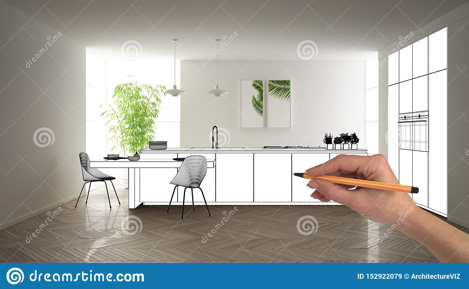 Unfinished Project Under Construction Draft Concept Interior Design Sketch Hand Drawing Blueprint Kitchen Sketch In Real Stock Image Image Of Background House 152922079