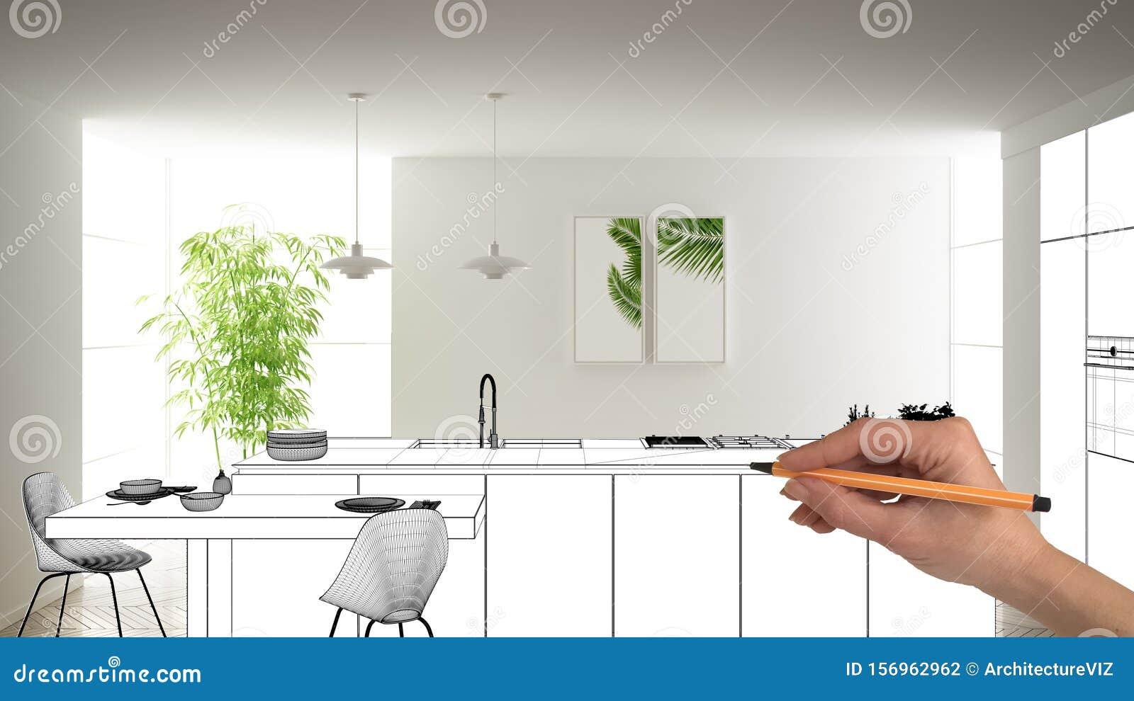 Unfinished Project Under Construction Draft Concept Interior Design Sketch Hand Drawing Blueprint Kitchen Sketch In Real Stock Illustration Illustration Of Indoors Development 156962962