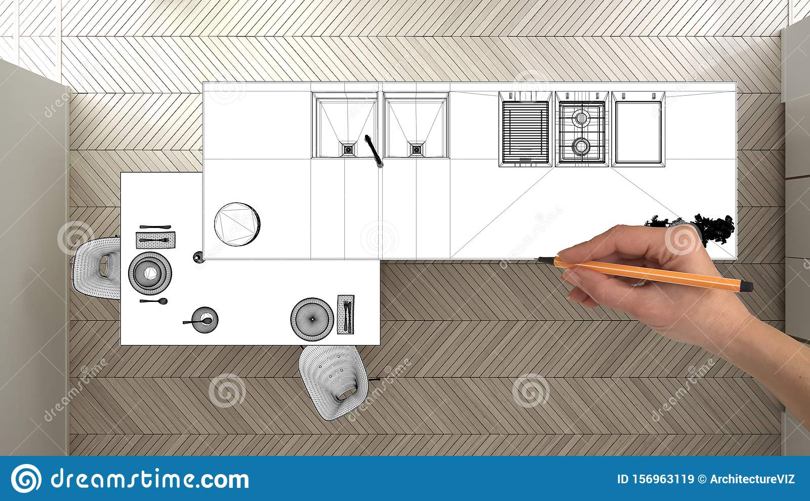 Unfinished Project Under Construction Draft Concept Interior Design Sketch Hand Drawing Blueprint Kitchen Sketch In Real Stock Illustration Illustration Of Model Home 156963119